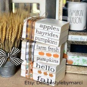 decorar libros estampados a mano otoño